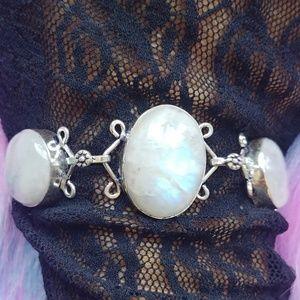 New Mystic Genuine 5 Moonstone 925 Adj. Bracelet